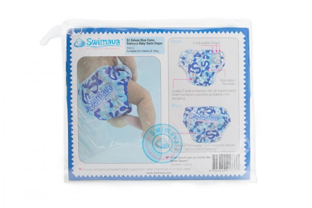 S1 Deluxe Blue Camo Swimava Diaper